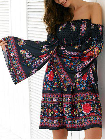 Discount Ethnic Off-The-Shoulder Bell Sleeve Dress