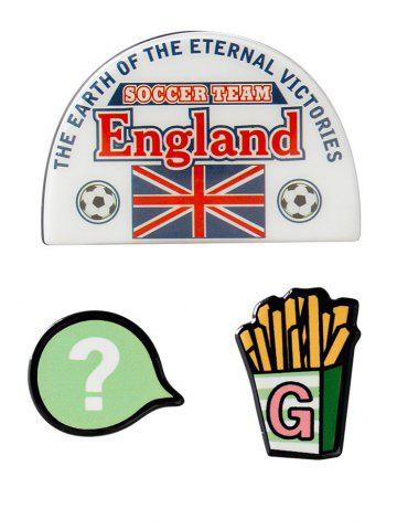 Hot England Soccer French Fries Pattern Brooches - WHITE  Mobile