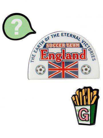 Shop England Soccer French Fries Pattern Brooches - WHITE  Mobile