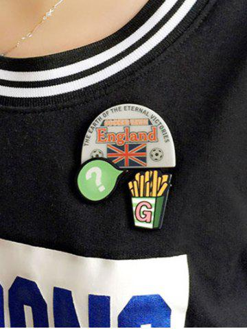 Fashion England Soccer French Fries Pattern Brooches - WHITE  Mobile
