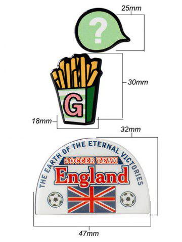 Shops England Soccer French Fries Pattern Brooches - WHITE  Mobile