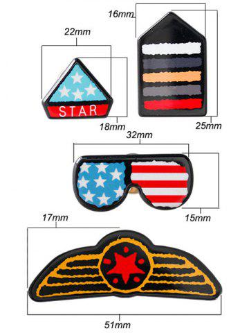 Outfit American Flag Glasses Star Badge Brooches - BLUE  Mobile