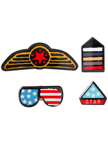 Hot American Flag Glasses Star Badge Brooches - BLUE  Mobile