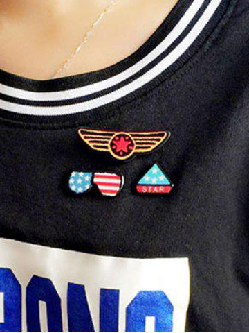 Fashion American Flag Glasses Star Badge Brooches - BLUE  Mobile