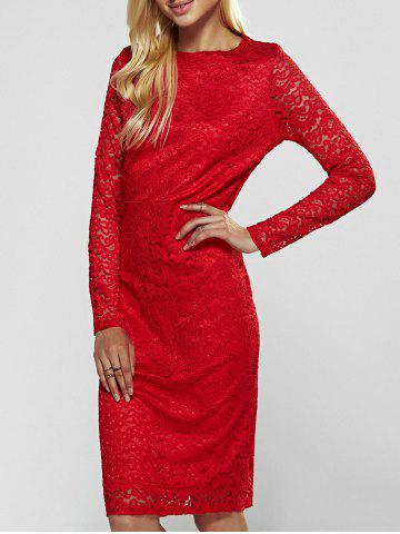 Lace Long Sleeve Sheath Evening Cocktail Dress - Red - M