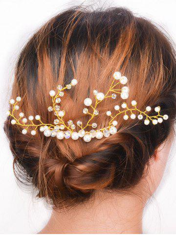 Faux Pearl Rhinestone Party Hair Comb - GOLDEN