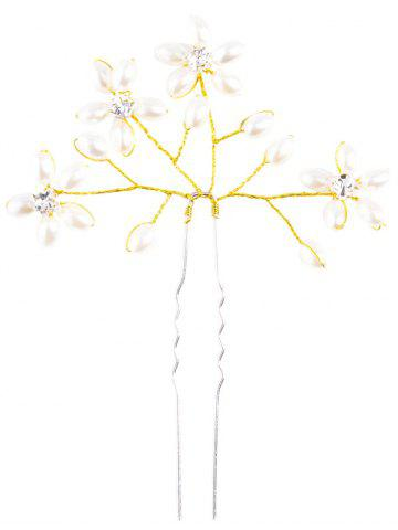 Trendy Rhinestone Faux Pearl Floral Hairpin - GOLDEN  Mobile