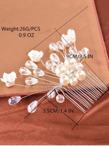 Latest Faux Pearl Rhinestone Rose Hair Comb - SILVER  Mobile