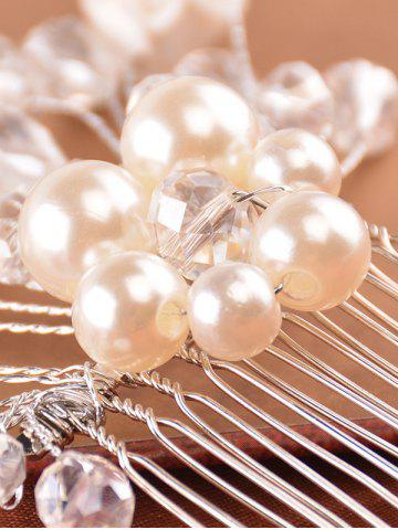 Online Faux Pearl Rhinestone Rose Hair Comb - SILVER  Mobile