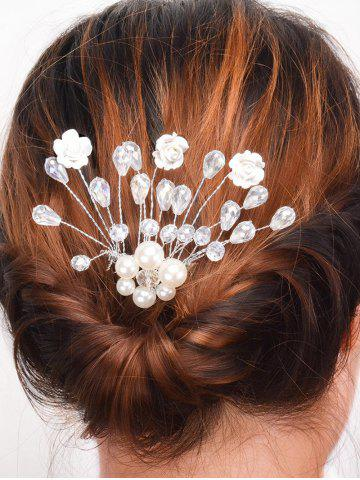 Buy Faux Pearl Rhinestone Rose Hair Comb SILVER