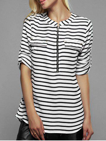 Unique Zip Front Striped Blouse