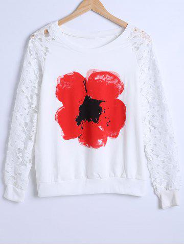 Discount Lace Sleeve Floral Sweatshirt
