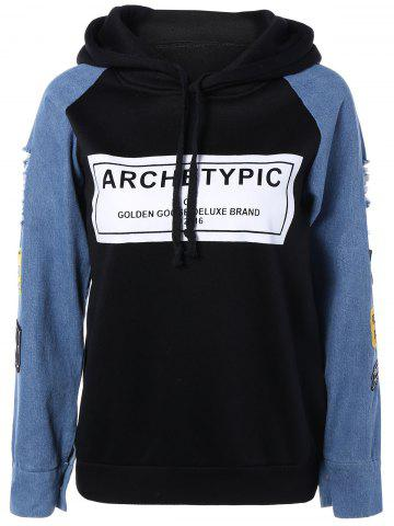 Outfits Long Sleeve Embroidered Hooded Sweatshirt BLACK M