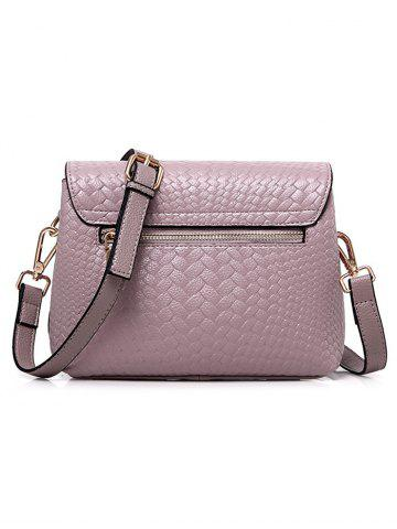 Best PU Leather Woven Crossbody Bag - PINK  Mobile