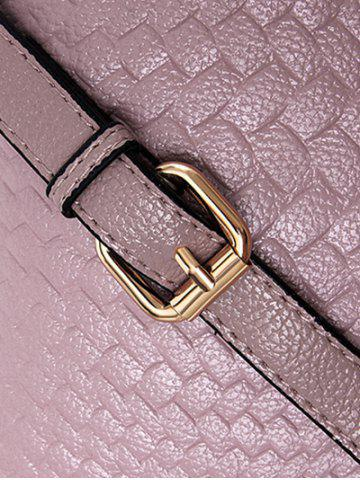 Trendy PU Leather Woven Crossbody Bag - PINK  Mobile