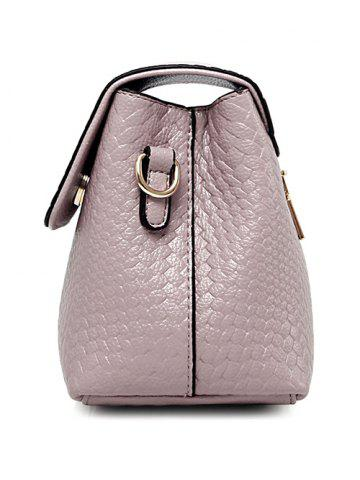 Hot PU Leather Woven Crossbody Bag - PINK  Mobile