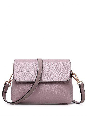 Store PU Leather Woven Crossbody Bag - PINK  Mobile