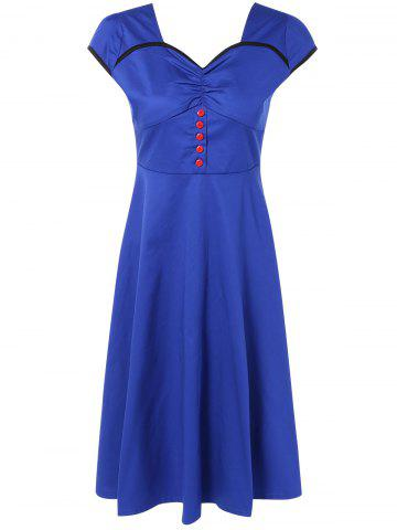 Shops Retro Cape Sleeve Backless Sweetheart Neck Fit and  Flare Dress
