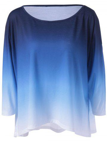 Gradient Color Smock Blouse - Blue And White - M