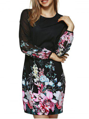 Unique Long Sleeve Slimming Floral Dress BLACK M