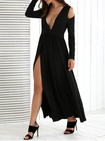 Affordable Cold Shoulder High Slit Maxi Dress with Long Sleeves