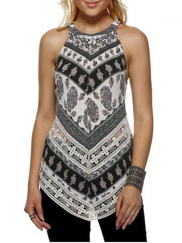 Fancy Fashionable Round Neck Print Loose-Fitting Tank Top