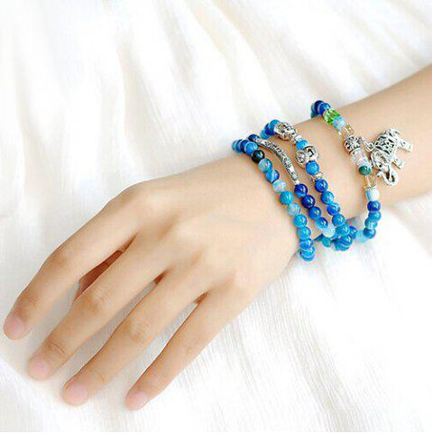 Cheap Elephant Buddha Faux Agate Wrap Bead Bracelet BLUE