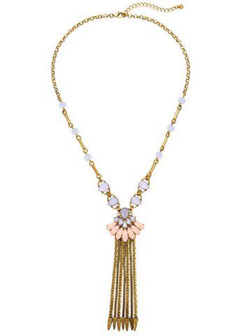 Cheap Petal Rhinestone Chain Fringe Necklace