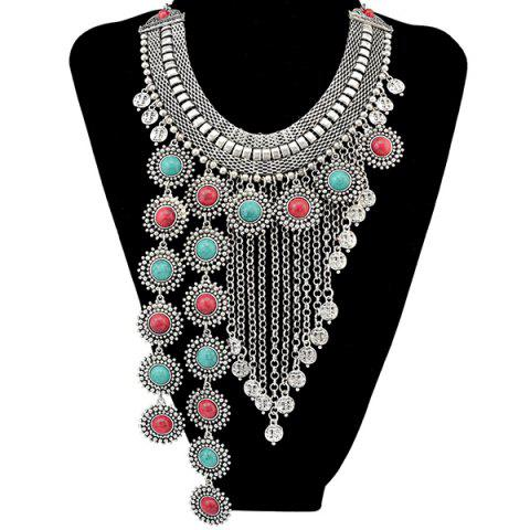 Affordable Faux Turquoise Round Chain Fringe Necklace