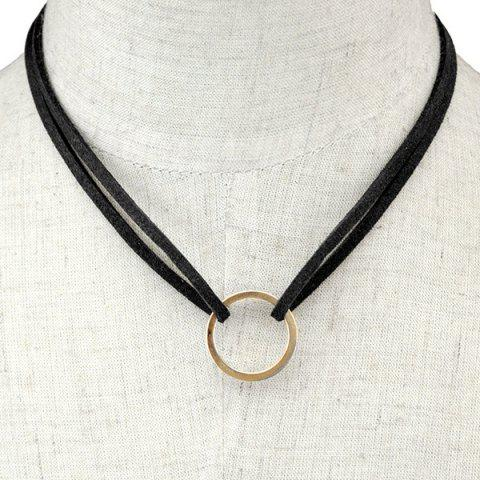 Chic Circle Faux Leather Layered Necklace BLACK