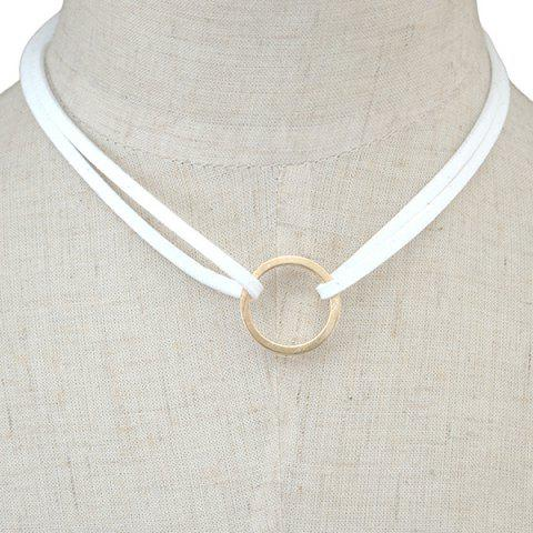 Latest Circle Faux Leather Layered Necklace WHITE