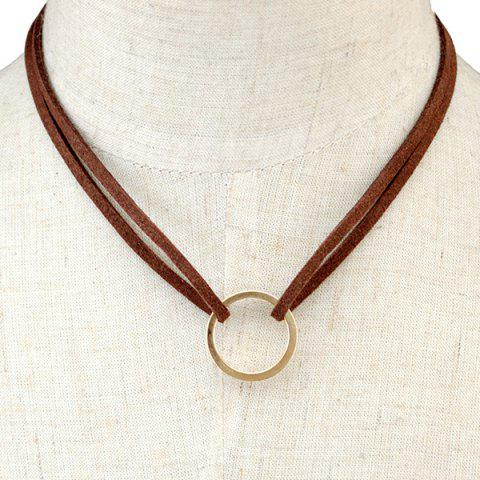 Circle Faux Leather Layered Necklace - Brown