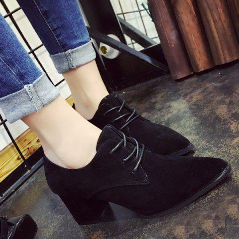 Cheap Chunky Heel Tie Up Pointed Toe Pumps BLACK 37