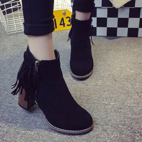 Latest Zipper Suede Fringe Ankle Boots BLACK 38