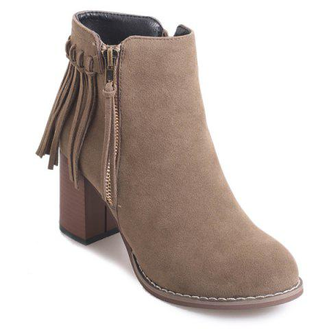 Fashion Zipper Suede Fringe Ankle Boots CAMEL 38