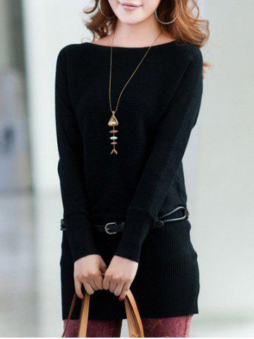 Outfit Long Sleeves Knitted Mini Dress - ONE SIZE BLACK Mobile