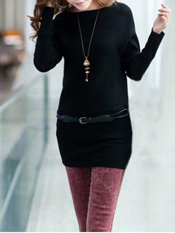 Fancy Long Sleeves Knitted Mini Dress BLACK ONE SIZE