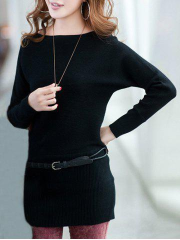 Fashion Long Sleeves Knitted Mini Dress - ONE SIZE BLACK Mobile