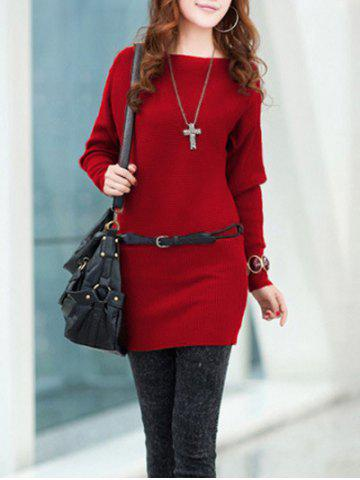 Outfit Long Sleeves Knitted Mini Dress - ONE SIZE RED Mobile