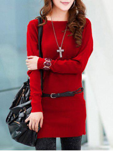 Cheap Long Sleeves Knitted Mini Dress - ONE SIZE RED Mobile