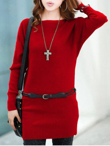 Fashion Long Sleeves Knitted Mini Dress - ONE SIZE RED Mobile
