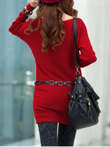 Chic Long Sleeves Knitted Mini Dress - ONE SIZE RED Mobile
