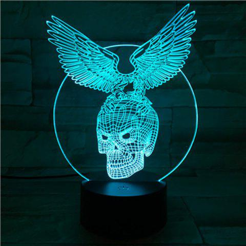 Outfits 3D Visual Touching Hawk Skull Shape Ombre Night Light - COLORFUL  Mobile