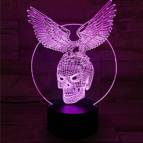 Chic 3D Visual Touching Hawk Skull Shape Ombre Night Light - COLORFUL  Mobile