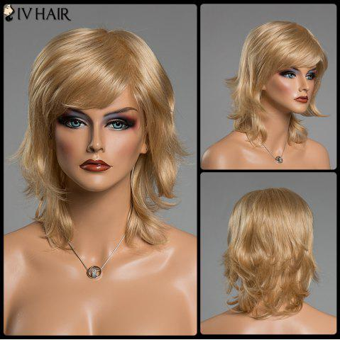 Latest Fluffy Natural Wavy Siv Hair Capless Medium Layered Side Bang Human Hair Wig