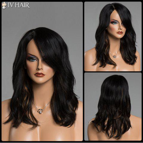 Chic Long Brown Highlight Siv Hair Fluffy Wave Side Parting Human Hair Capless Wig