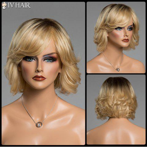 Latest Shaggy Wave Siv Hair Short Side Bang Ombre Color Capless Human Hair Wig