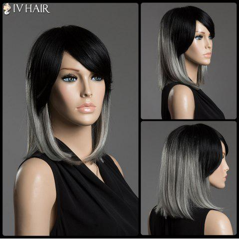 Shop Two-Tone Ombre Straight Human Hair Medium Side Bang Capless Siv Hair Wig COLORMIX