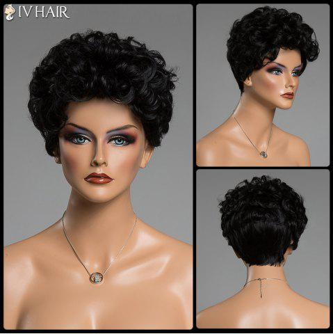 Cheap Human Hair Short Haircut Capless Fluffy Curly Siv Hair Wig JET BLACK
