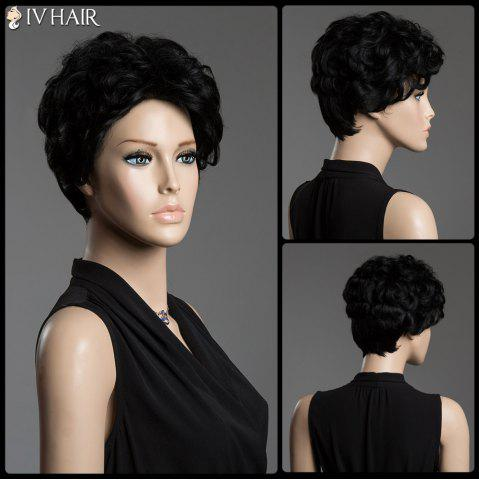 Chic Sophisticated Short Siv Hair Fluffy Curly Real Human Hair Capless Wig JET BLACK